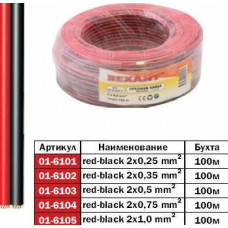 Кабель акустический 2х0.25 красно-черный Rexant (100/800)