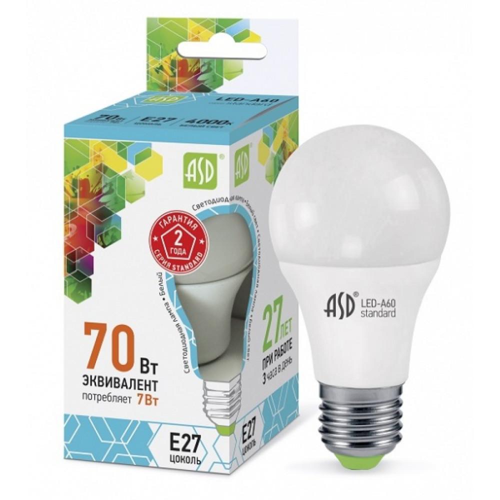 Лампа диодная A60 7Вт Е27 4000К 630Лм ASD (10)