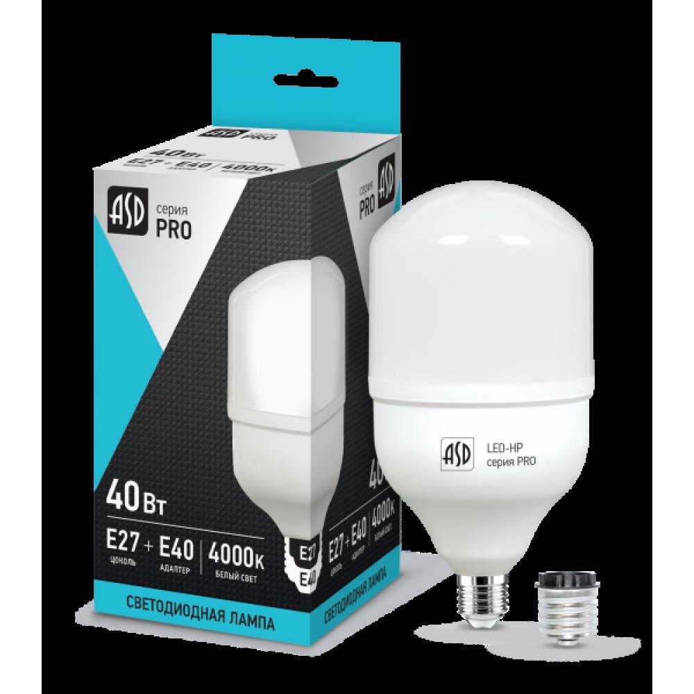 Лампа диодная HP 40Вт Е27/E40 4000К 3600Лм d118x214мм ASD