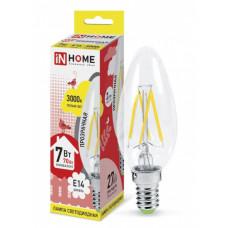 Лампа филамент свеча 7Вт Е14 3000К 630Лм InHome (10)