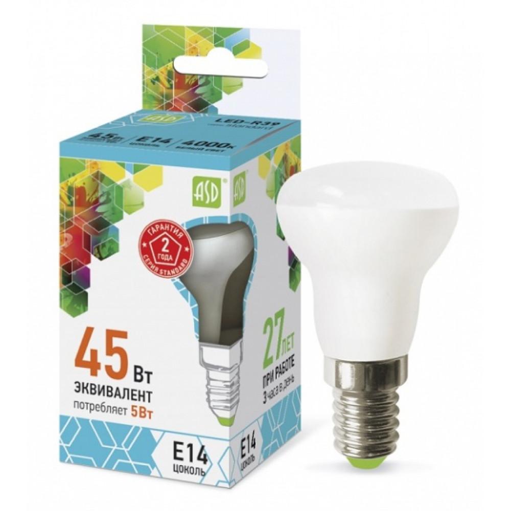 Лампа диодная R39 5Вт Е14 4000К 450Лм ASD (10)