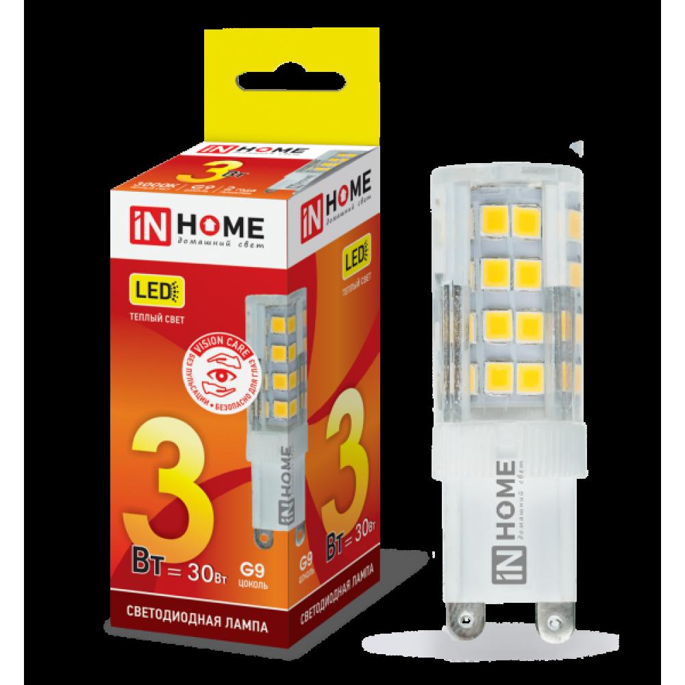 Лампа диодная G9 3Вт 3000К 270Лм InHome (20)