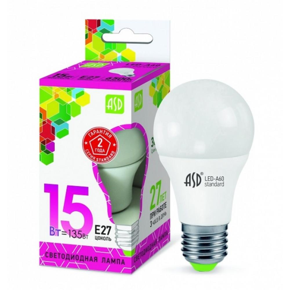 Лампа диодная A60 15Вт Е27 6500К 1350Лм ASD (10)