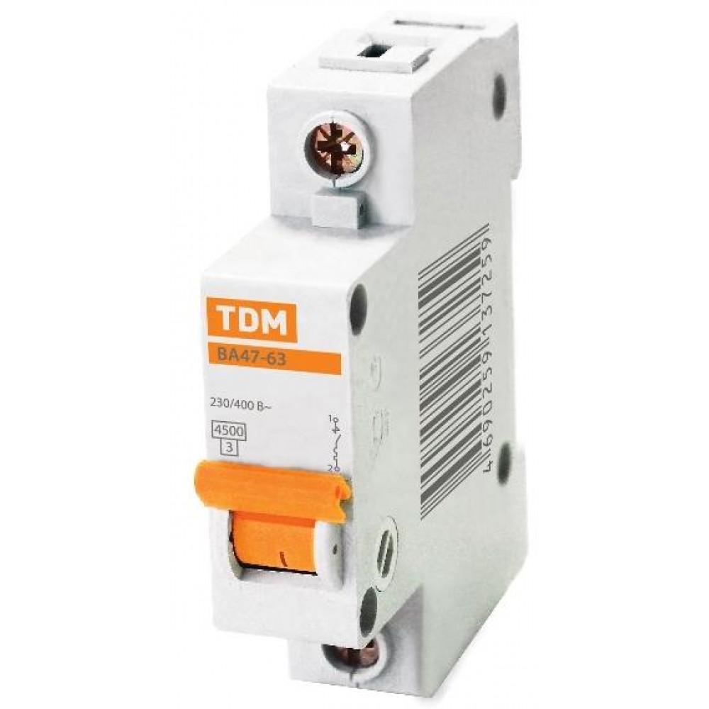 Выключатель автоматический 1P 16A 4,5kA C TDM BA47-63 (12/120)