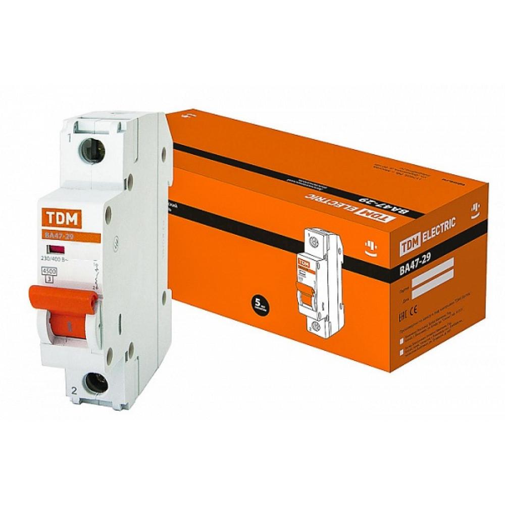 Выключатель автоматический 1P 10A 4,5kA B TDM BA47-29 (12/120)