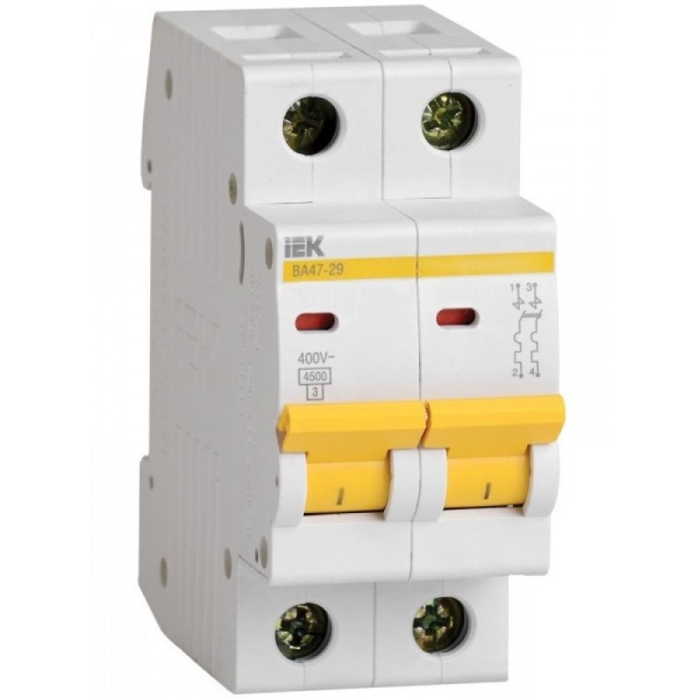 Выключатель автоматический 2P 1A 4,5kA C IEK BA47-29 (6/72)