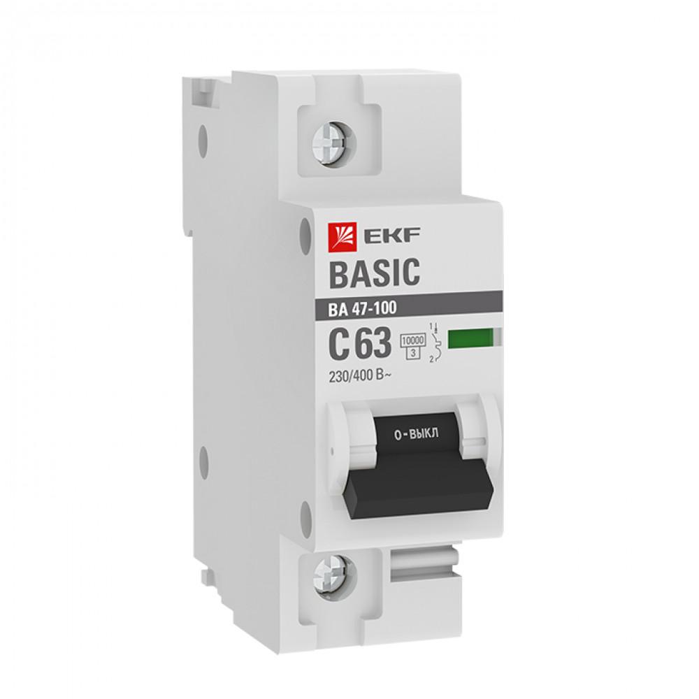 Выключатель автоматический 1P 100A 10kA C EKF ВА47-100 (12)