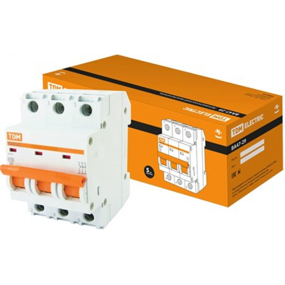 Выключатель автоматический 3P 10A 4,5kA B TDM BA47-29 (4/40)