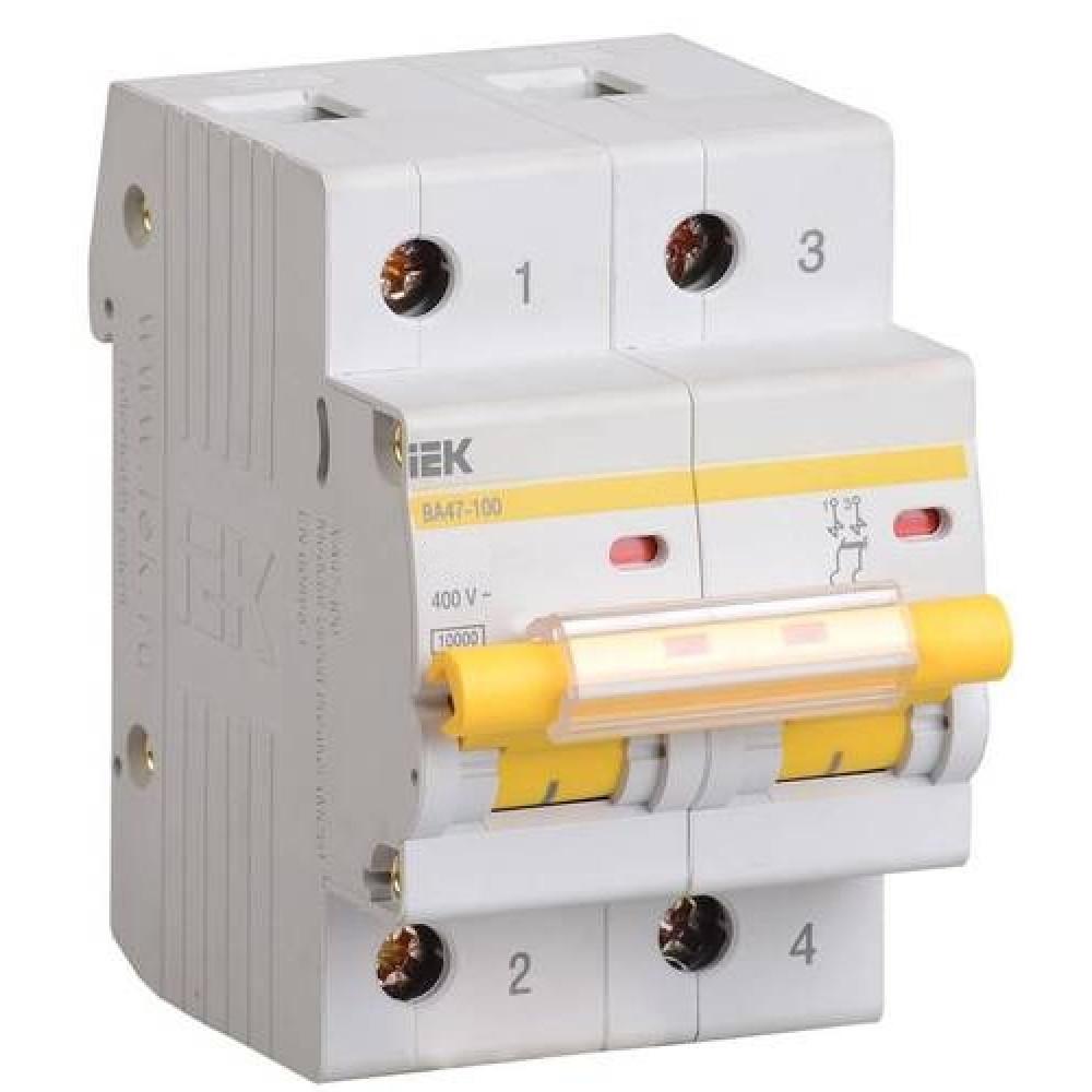 Выключатель автоматический 2P 100A 10kA C IEK BA47-100 (6/60)