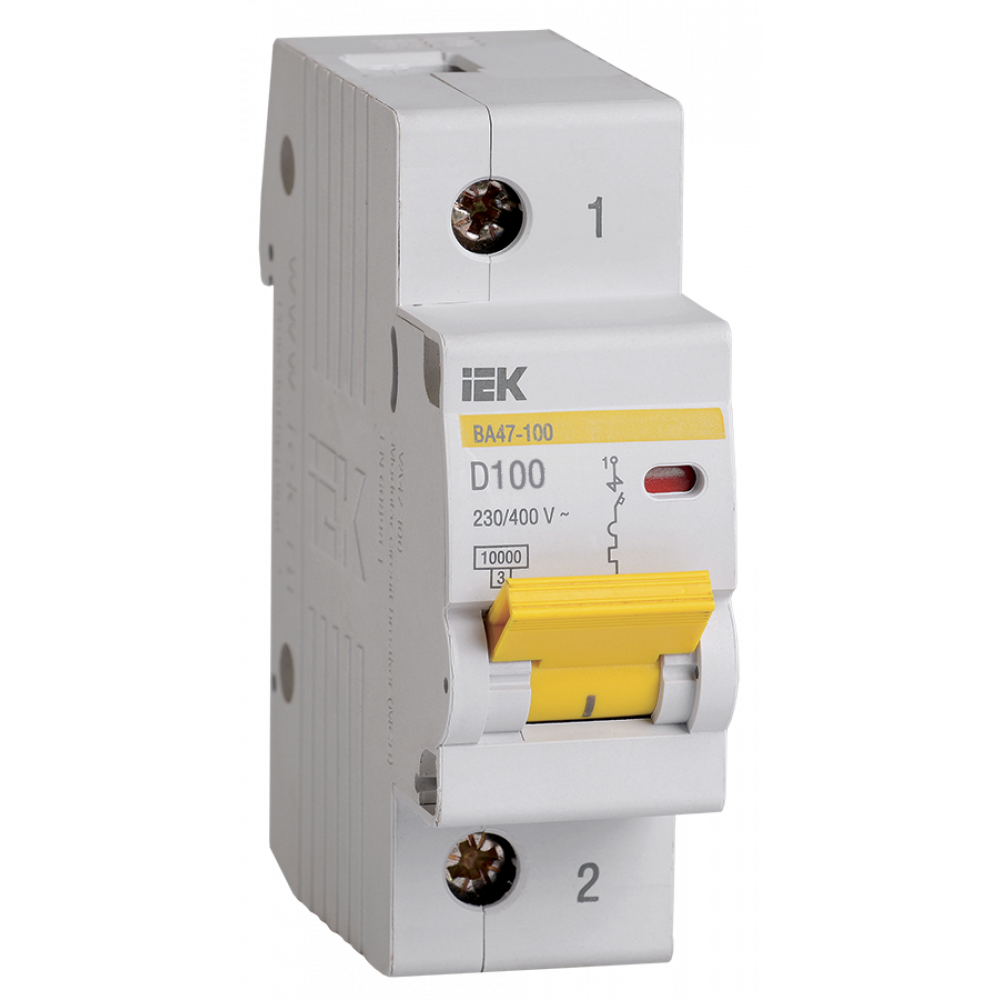 Выключатель автоматический 1P 100A 10kA D IEK BA47-100 (12/120)