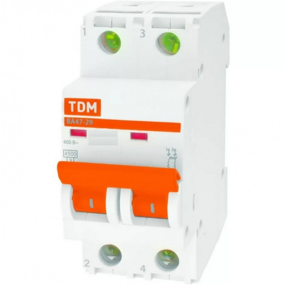 Выключатель автоматический 2P 25A 4,5kA B TDM BA47-29 (6/60)