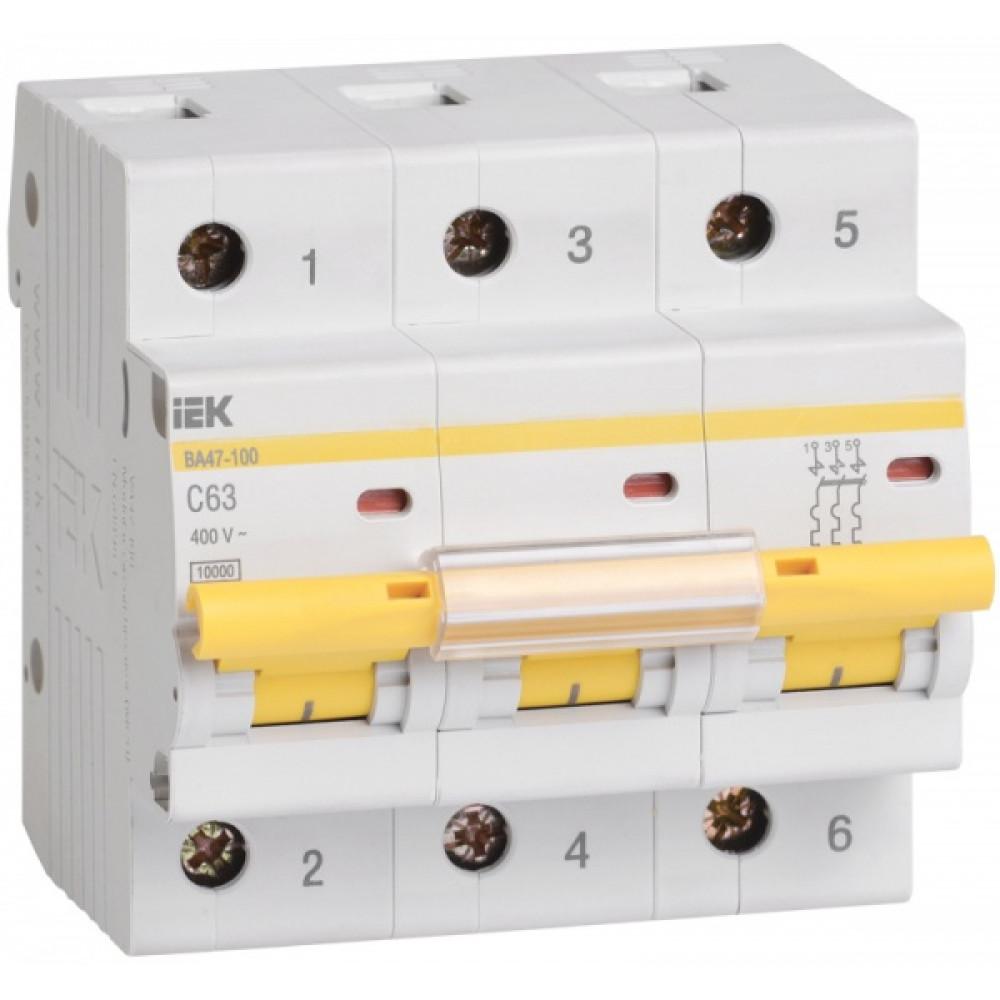 Выключатель автоматический 3P 10A 10kA D IEK BA47-100 (4/40)