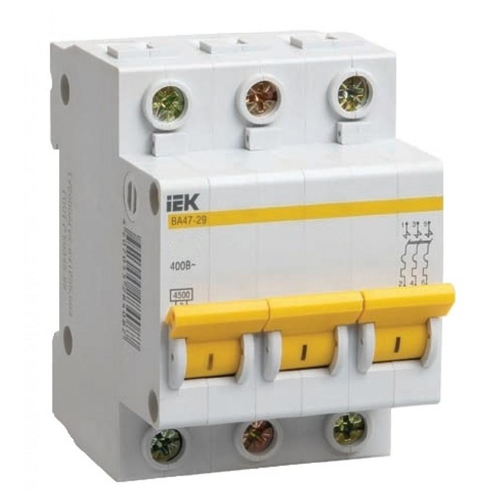 Выключатель автоматический 3P 16A 4,5kA C IEK BA47-29 (4/48)