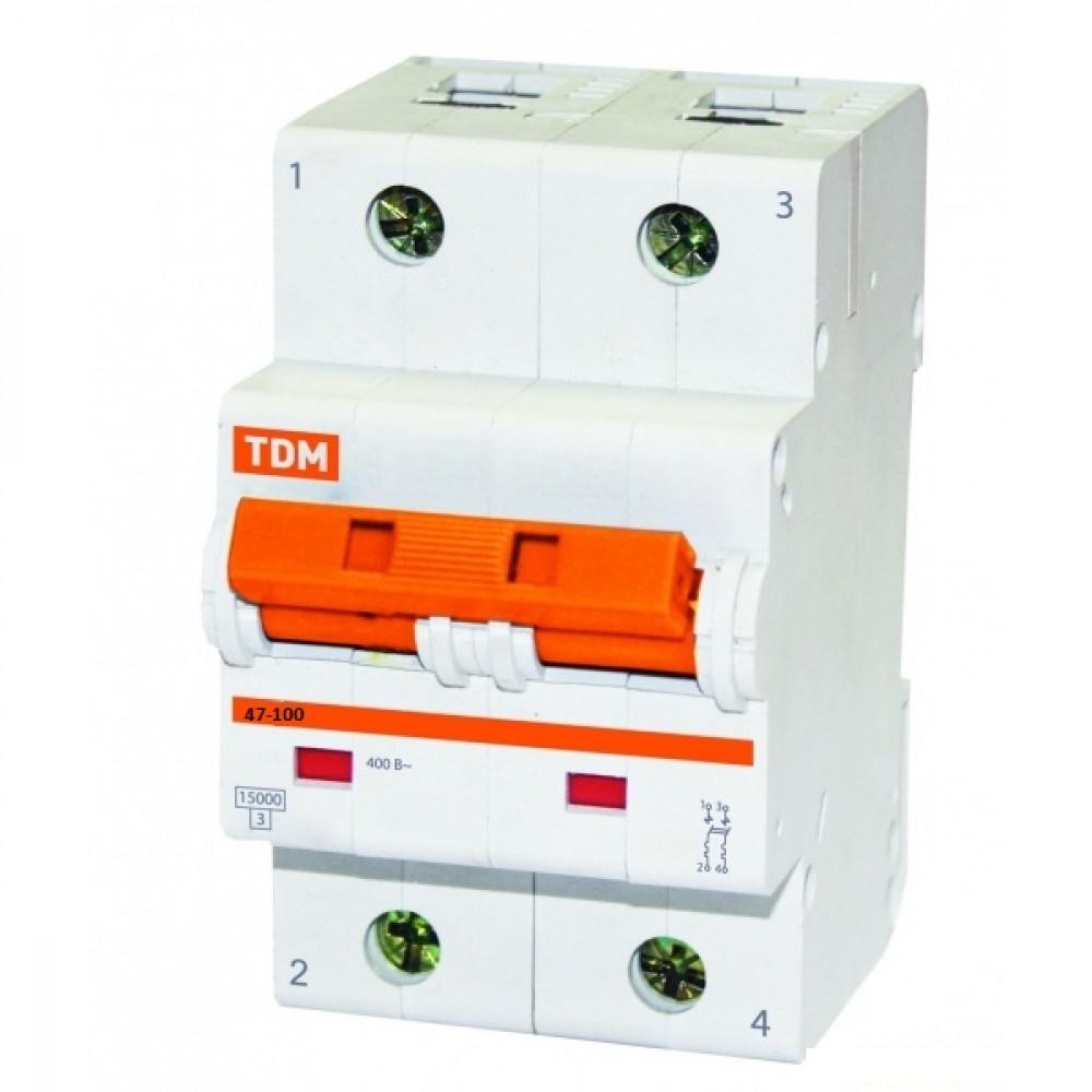 Выключатель автоматический 2P 100A 10kA C TDM BA47-100 (3/36)