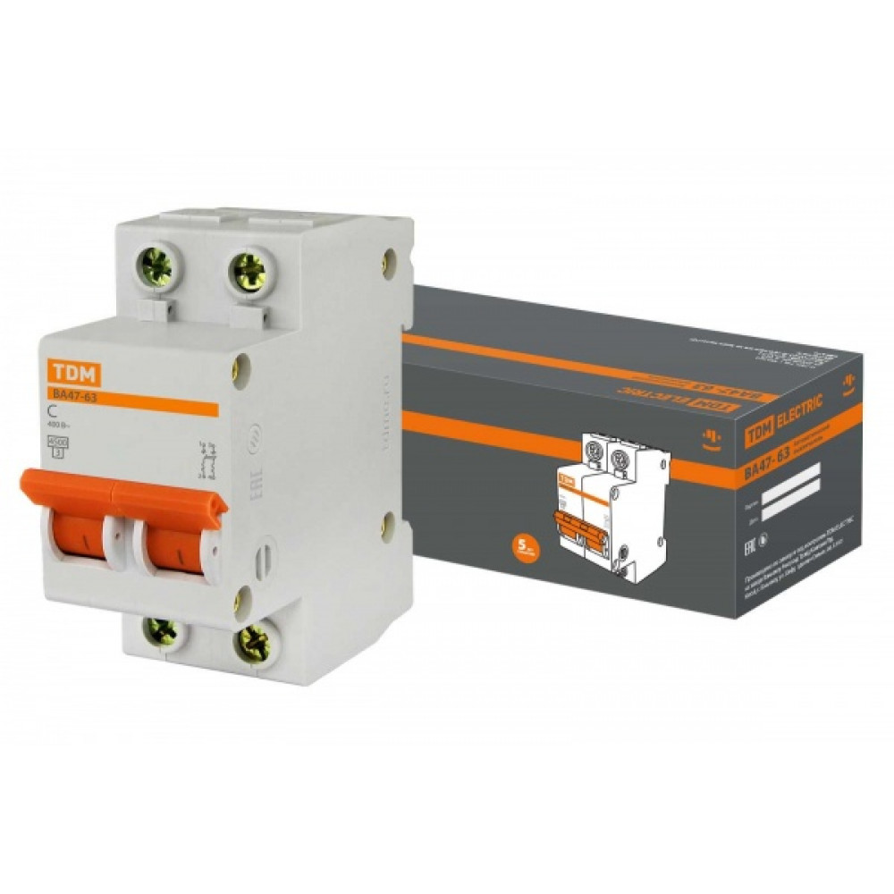 Выключатель автоматический 2P 63A 4,5kA C TDM BA47-63 (6/60)