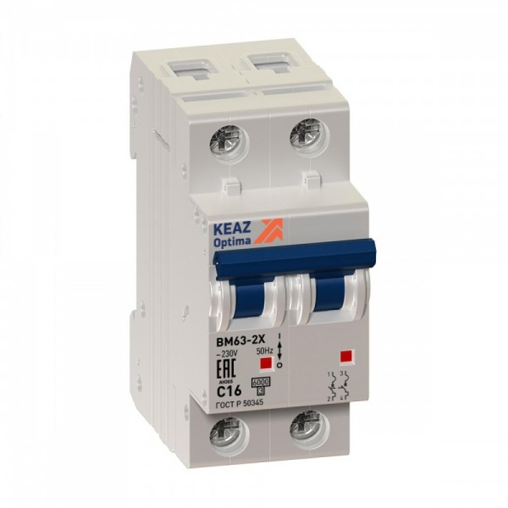 Выключатель автоматический 2P 63А 6kA C КЭАЗ ВМ63 (6)