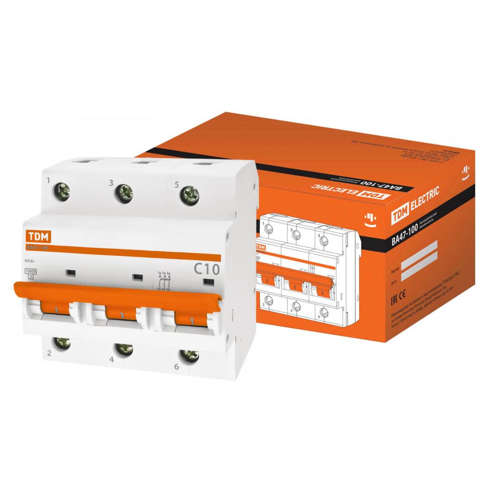 Выключатель автоматический 3P 10А 10кА С TDM ВА47-100 (2/24)