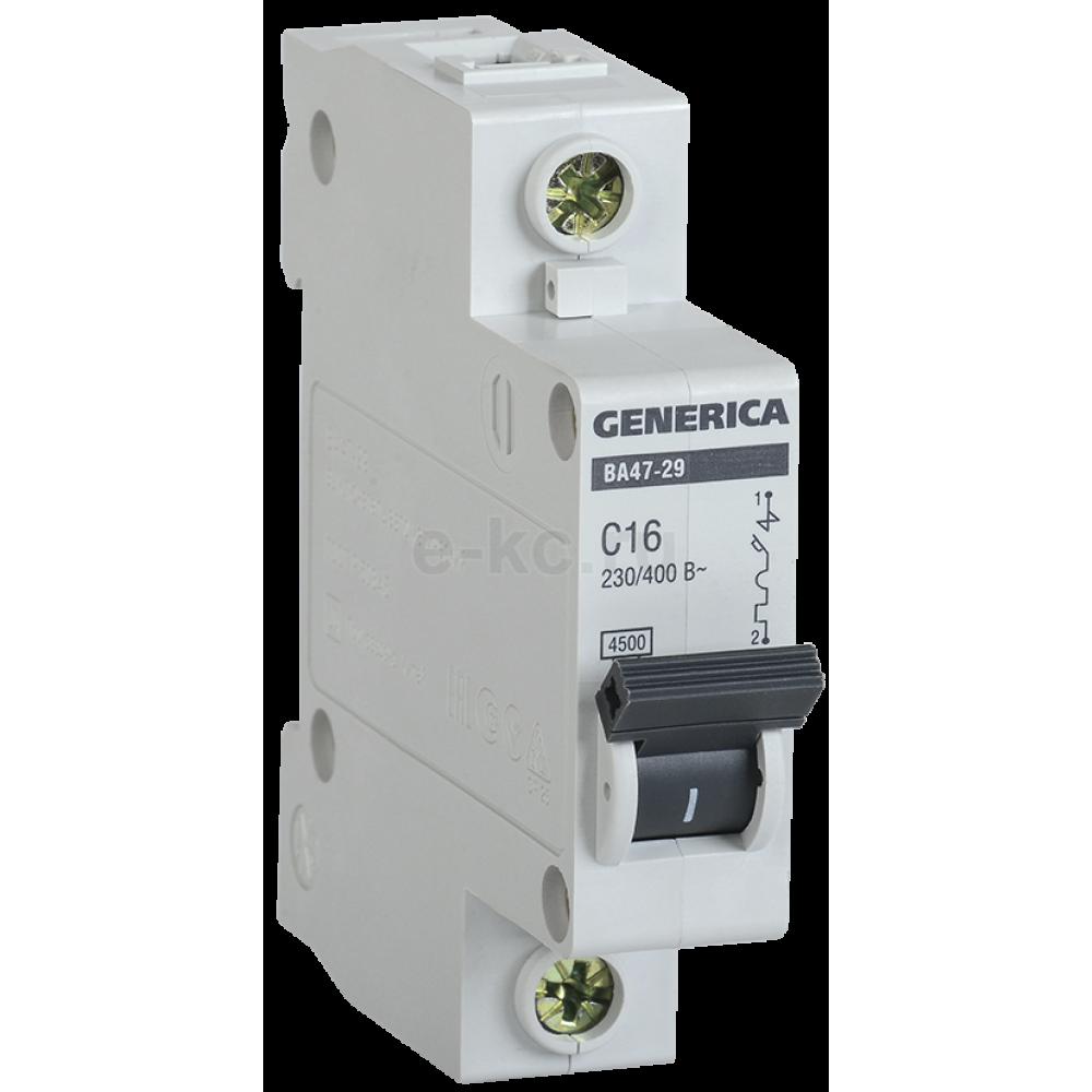 Выключатель автоматический 1P 63A 4,5kA C IEK BA47-29 Generica (12/144)