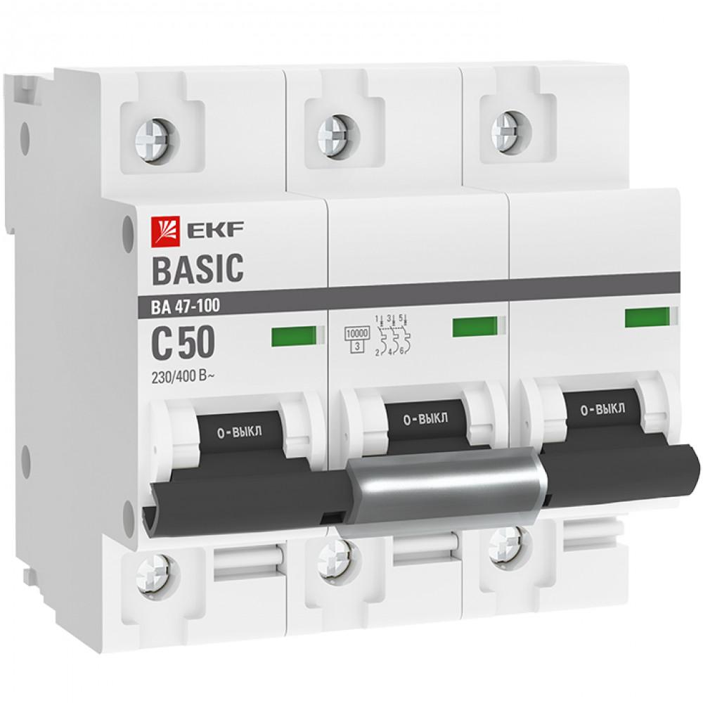Выключатель автоматический 3P 100A 10kA C EKF ВА47-100 (4/36)