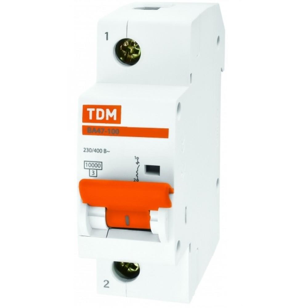 Выключатель автоматический 1P 80A 10kA C TDM BA47-100 (6/72)