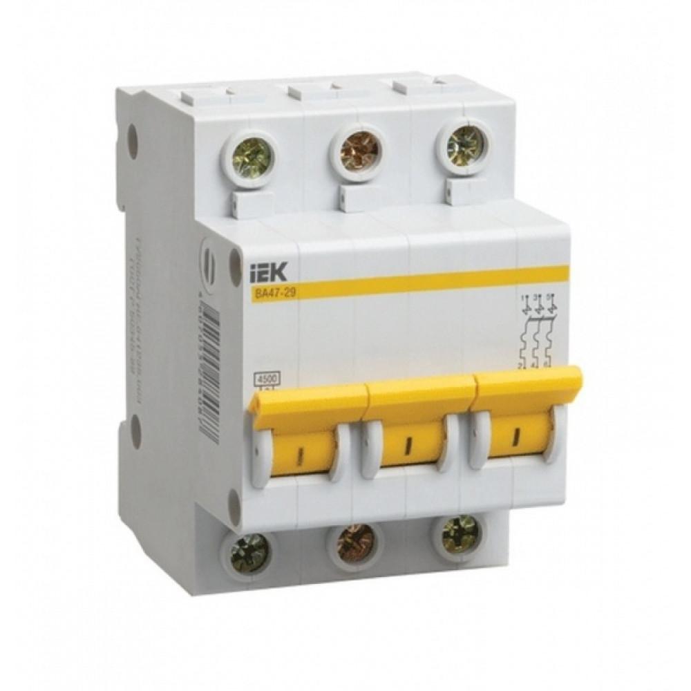 Выключатель автоматический 3P 10A 4,5kA B IEK BA47-29 (4/48)