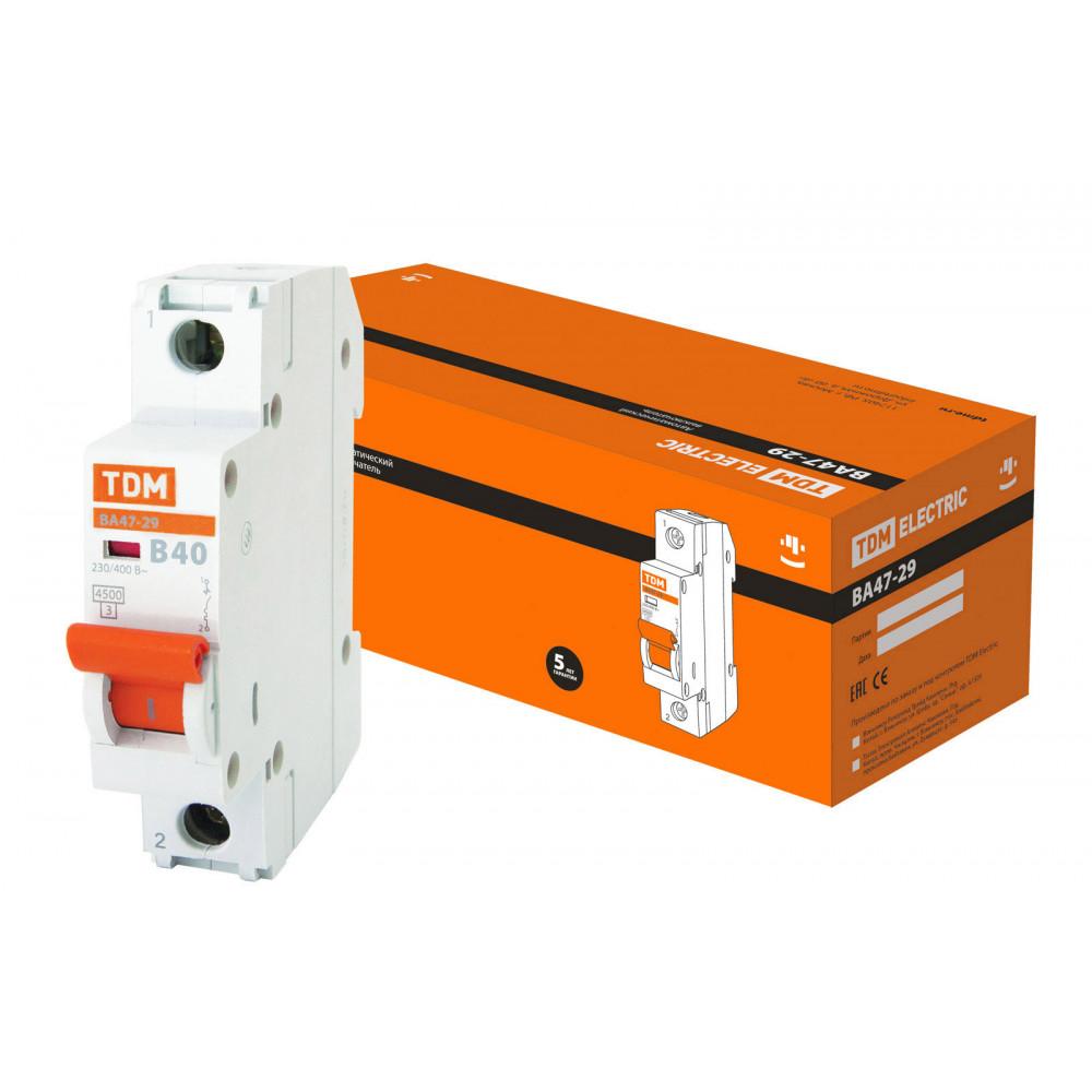 Выключатель автоматический 1P 40A 4,5kA B TDM BA47-29 (12/120)