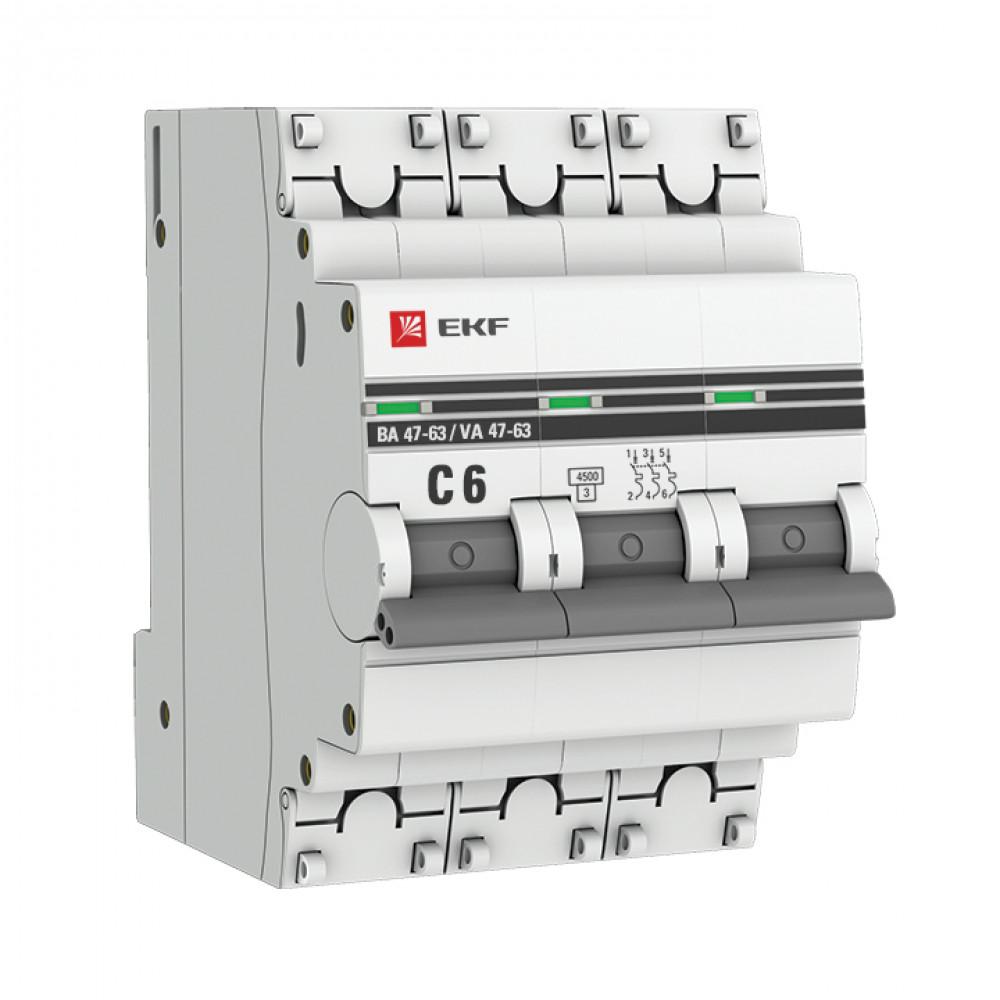 Выключатель автоматический 3P 10A 4,5kA C EKF ВА47-63 PROxima (4/40)