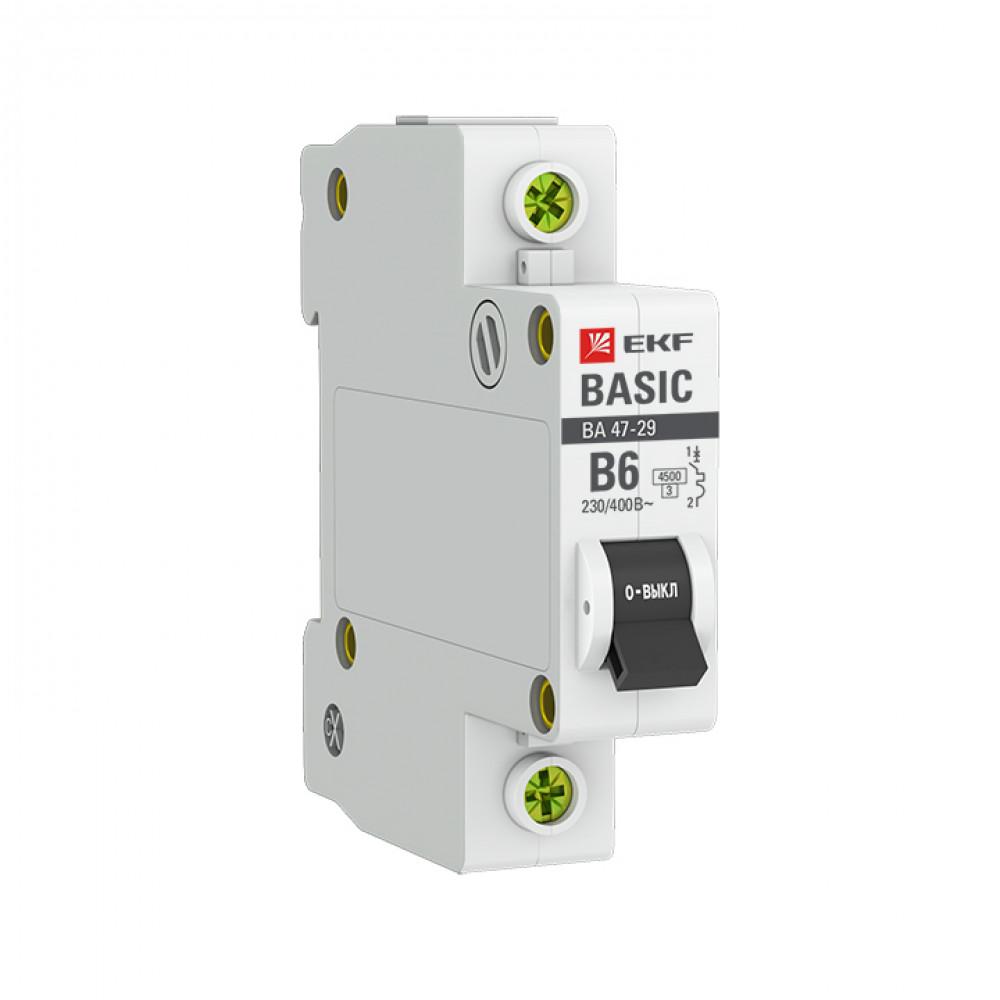 Выключатель автоматический 1P 6A 4,5kA C EKF ВА47-29 Basic (12/120)
