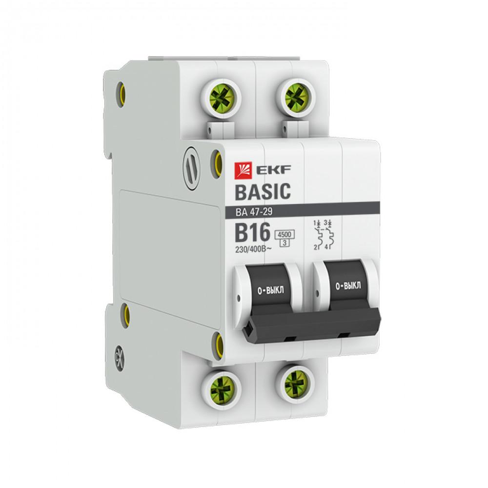 Выключатель автоматический 2P 16A 4,5kA C EKF ВА47-29 Basic (6/60)