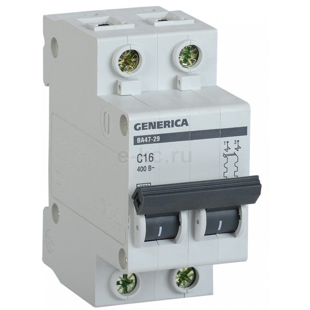 Выключатель автоматический 2P 10A 4,5kA C IEK BA47-29 Generica (6/72)