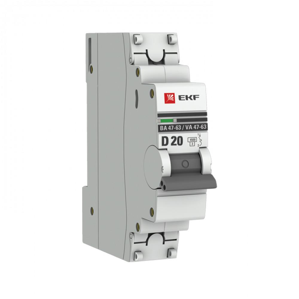 Выключатель автоматический 1P 20A 4,5kA C EKF ВА47-63 PROxima (12/120)