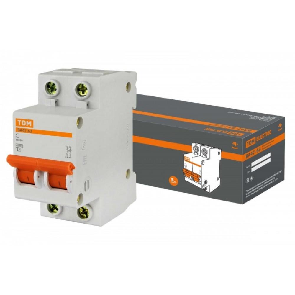 Выключатель автоматический 2P 10A 4,5kA C TDM BA47-63 (6/60)