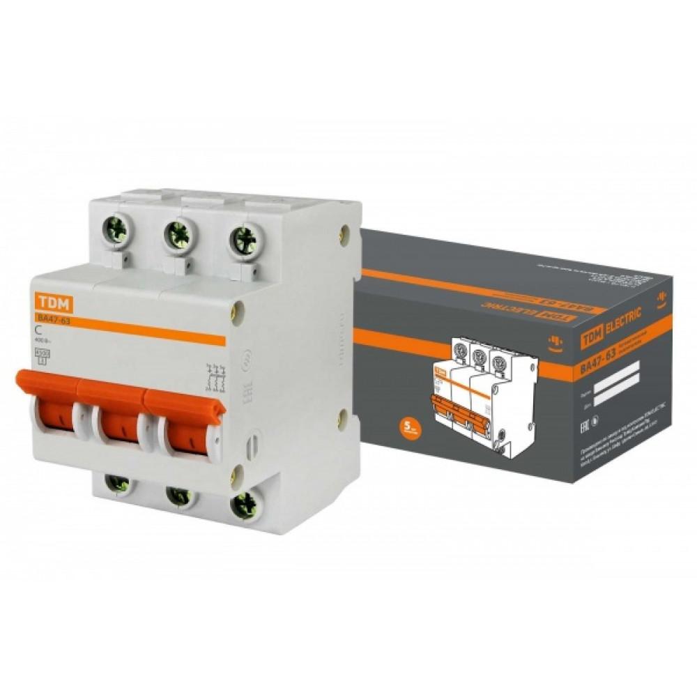 Выключатель автоматический 3P 16A 4,5kA C TDM BA47-63 (4/40)