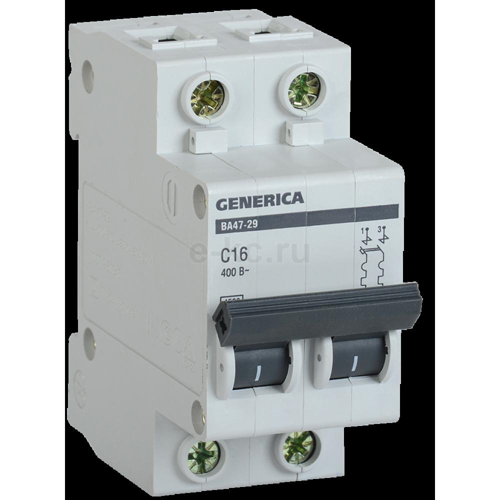 Выключатель автоматический 2P 16A 4,5kA C IEK BA47-29 Generica (6/72)