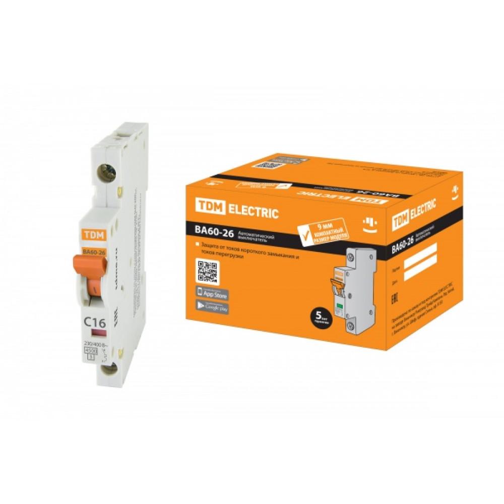 Выключатель автоматический 1P 16A 4,5kA C TDM BA60-26-14 Компакт (12/180)