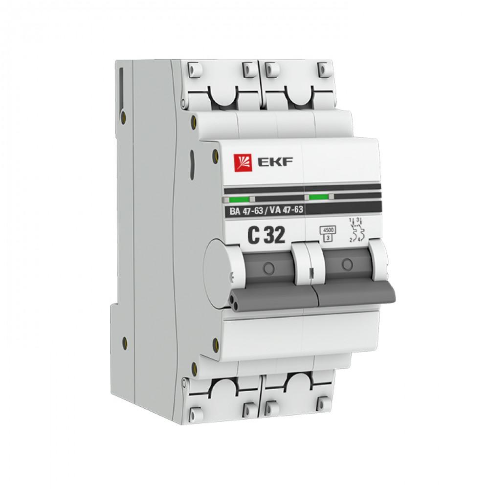 Выключатель автоматический 2P 32A 4,5kA C EKF ВА47-63 PROxima (6/60)