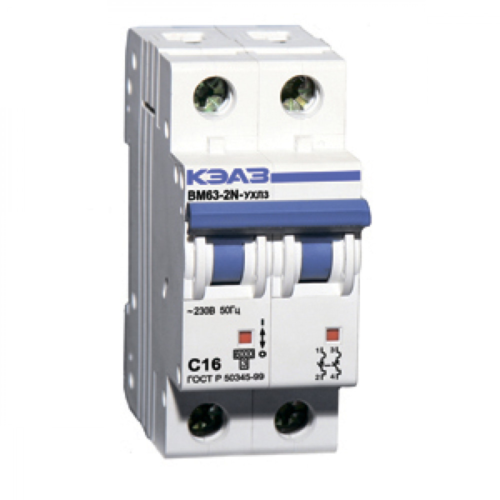 Выключатель автоматический 2P 16А 6kA C КЭАЗ ВМ63 (6)