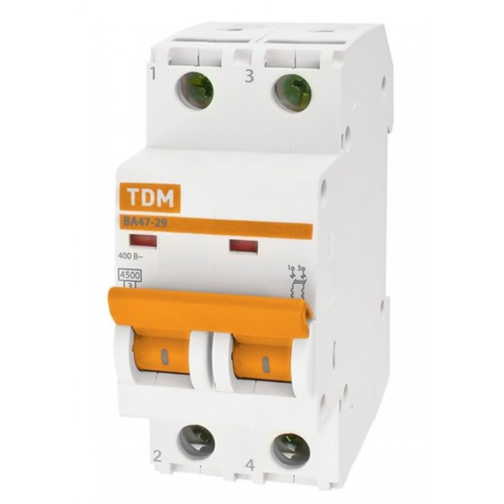 Выключатель автоматический 2P 6A 4,5kA C TDM BA47-29 (6/60)