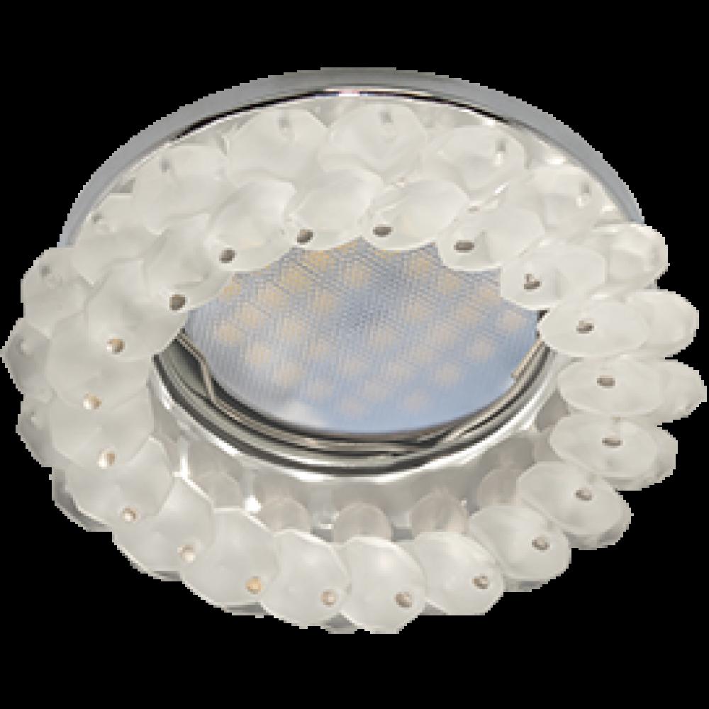 Ecola MR16 CD4141 GU5.3 Светильник встр. круглый с хрусталиками Матовый/Хром 50x90 (кd74)