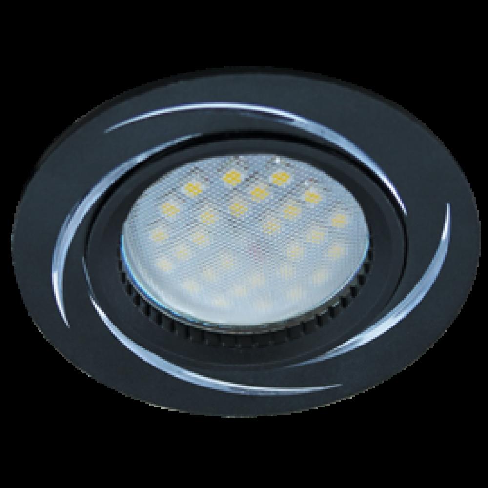 Ecola MR16 DL3181 GU5.3 Светильник встр. литой (скрытый крепеж лампы) Черный/Алюм Вихрь 23x78 (кd74)