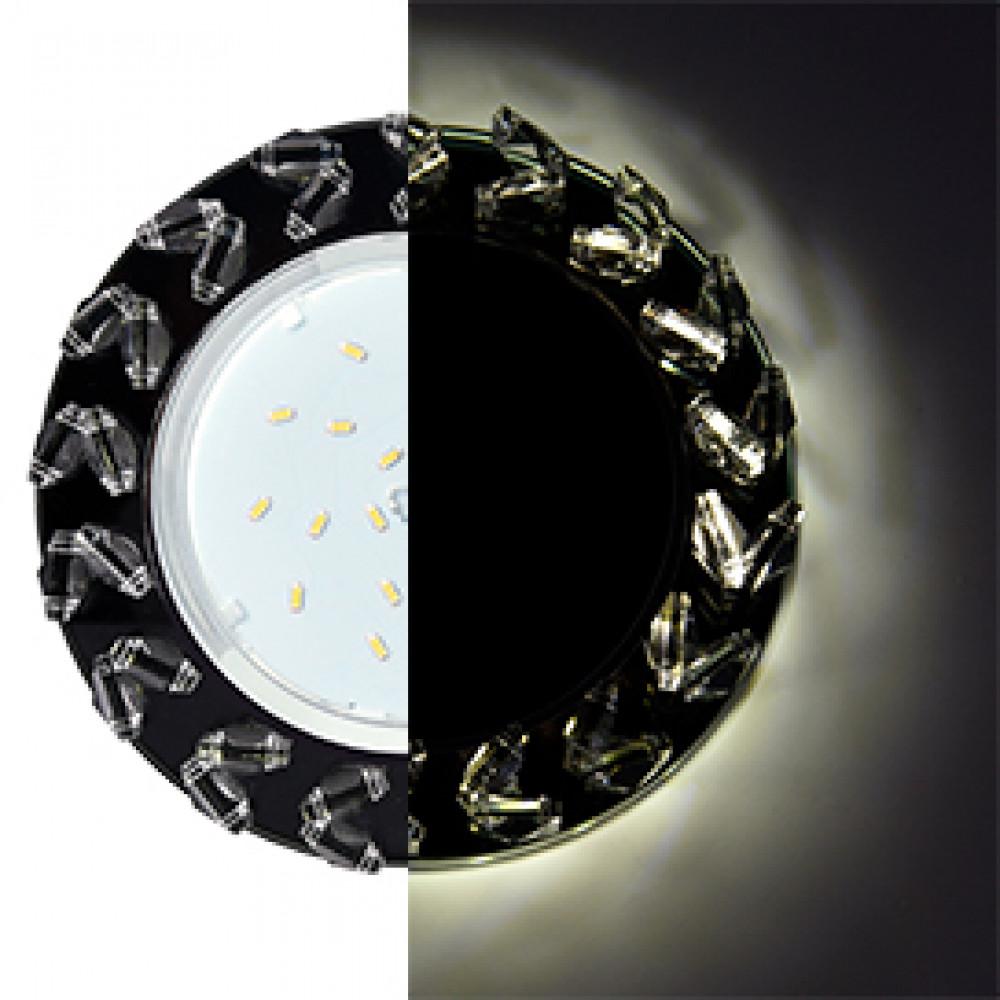 Ecola GX53 H4 LD5361 Glass Круг с крупными прозр. стразами Елочка с подсветкой/фон черн./центр.часть хром 54x120 (к+)