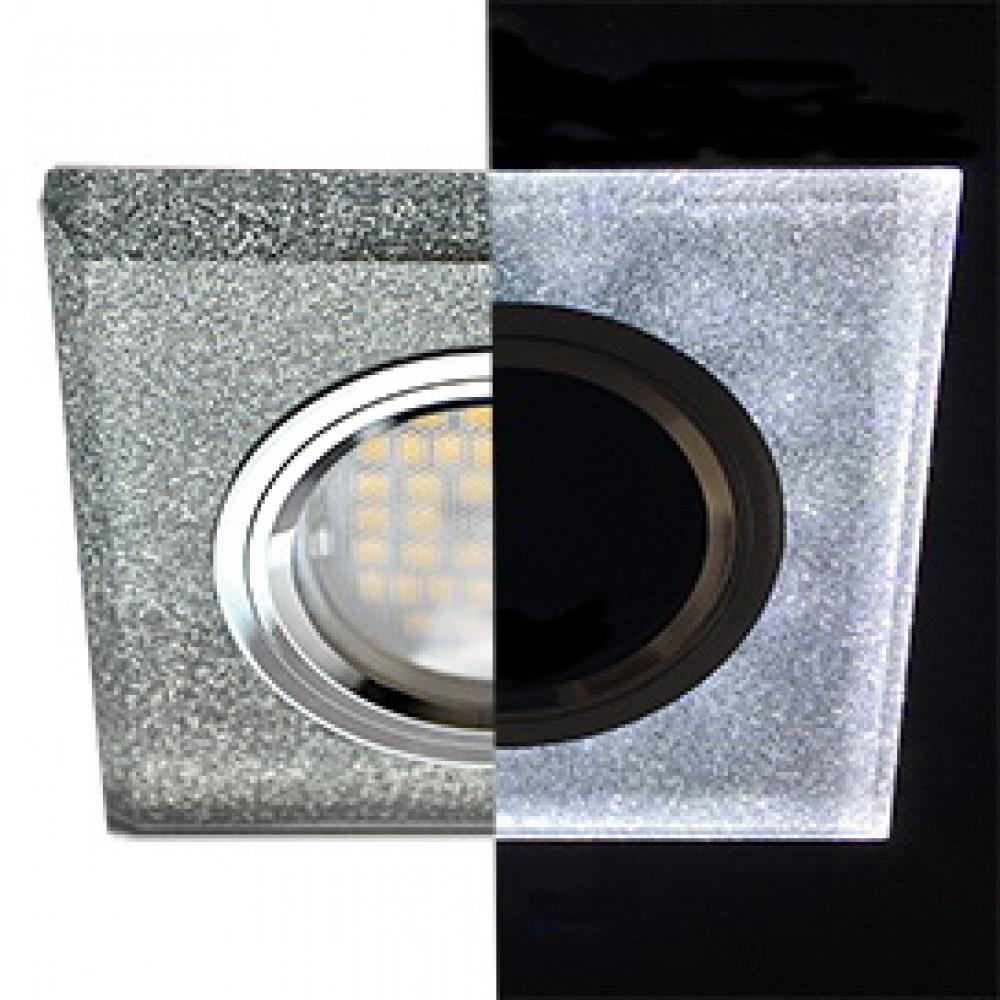 Ecola MR16 LD1651 GU5.3 Glass Стекло с подсветкой Квадрат скошенный край Серебряный блеск / Хром 25x