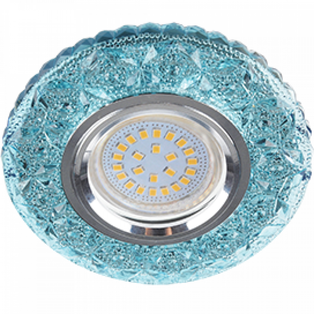 """Ecola MR16 LD7040 GU5.3 Светильник встр. искристый с подсветкой """"Бабочки"""" Голубой / Хром 25x95"""