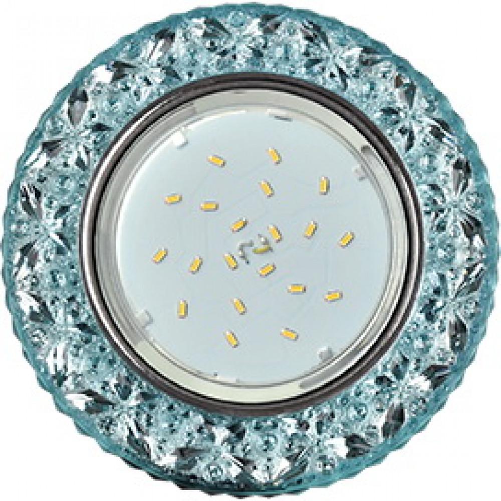 """Ecola GX53 H4 LD7040 Светильник встр. искристый с подсветкой """"Бабочки"""" Голубой / Хром 35x125 (к+)"""
