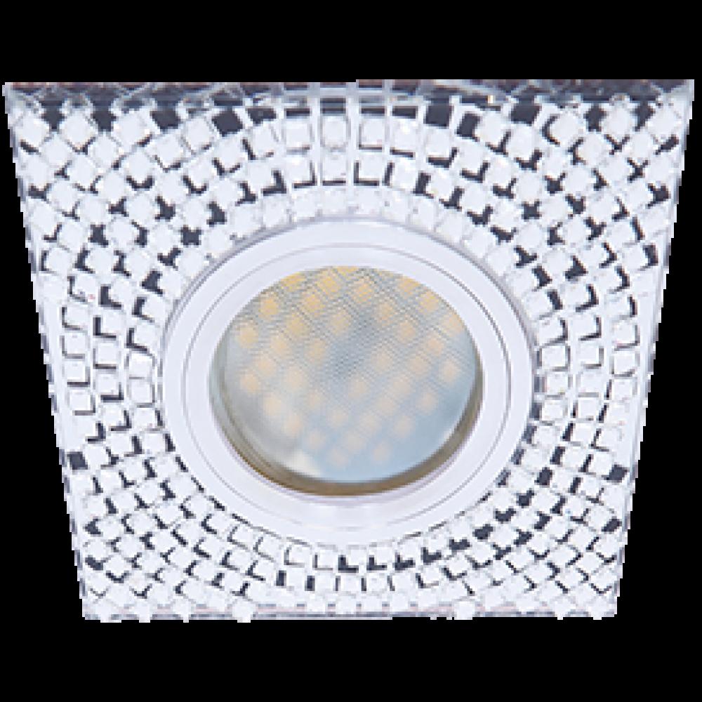 Ecola MR16 DL1658 GU5.3 Glass Стекло Квадрат с прозр. мозаикой/фон зерк./центр.часть хром 28x95x95
