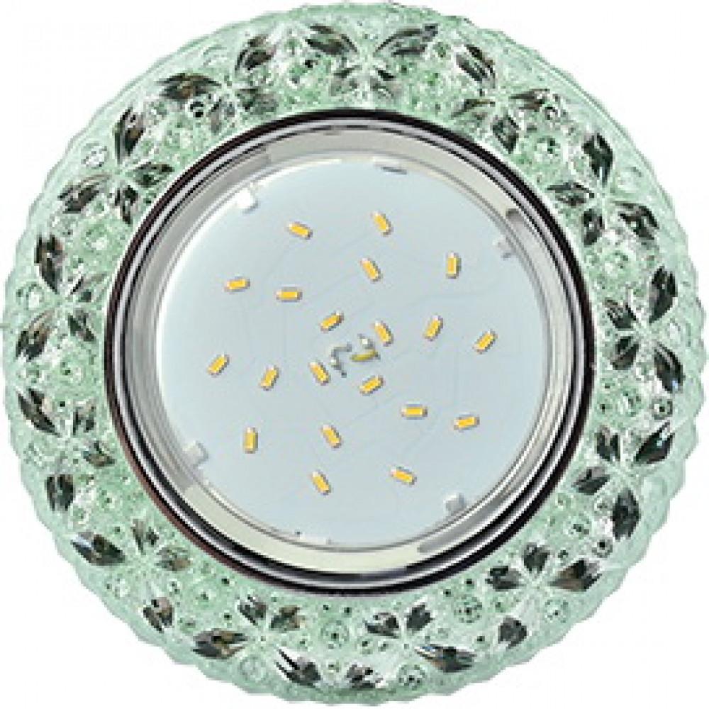 """Ecola GX53 H4 LD7040 Светильник встр. искристый с подсветкой """"Бабочки"""" Изумрудный / Хром 35x125 (к+)"""