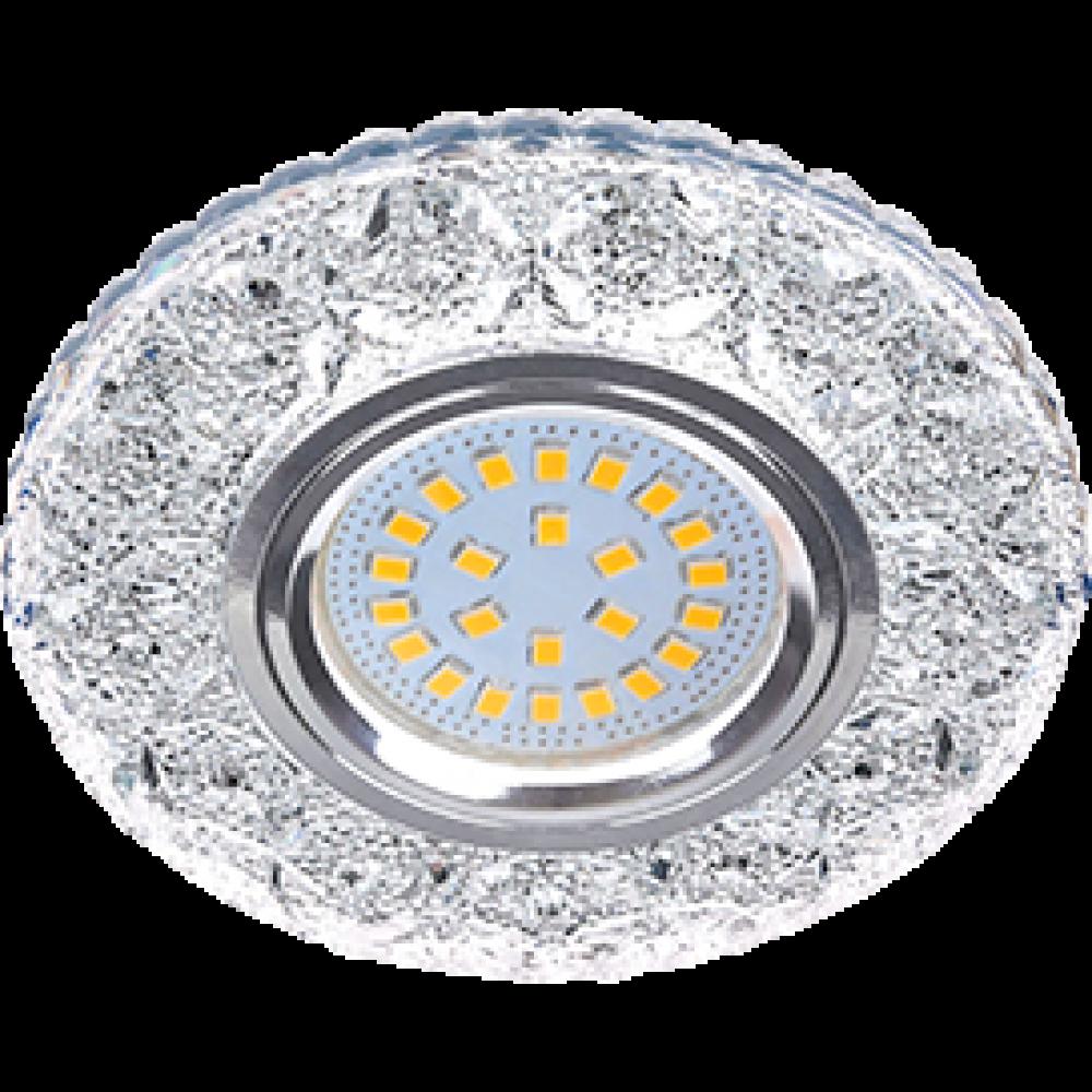 """Ecola MR16 LD7040 GU5.3 Светильник встр. искристый с подсветкой """"Бабочки"""" Прозрачный / Хром 25x95"""