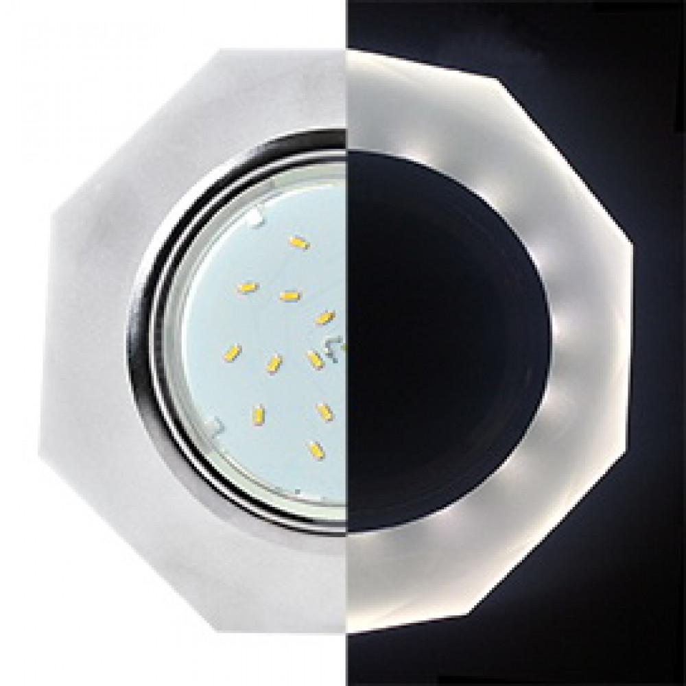 Ecola GX53 H4 LD5312 Glass Стекло 8-угольник с прямыми гранями с подсветкой хром - матовый 38x133 (