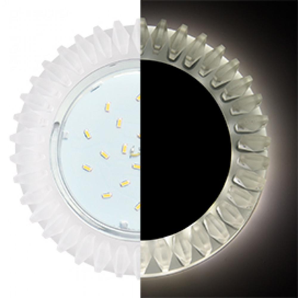 Ecola GX53 H4 LD5361 Glass Круг с матовыми стразами Гребенка с подсветкой/фон матовый/центр.часть хром 52x120 (к+)