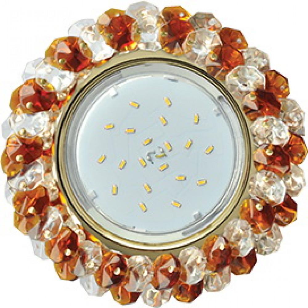 Ecola GX53 H4 5341 Glass Круглый с хрусталиками Прозрачный и Янтарь /Золото 56x120 (к+)